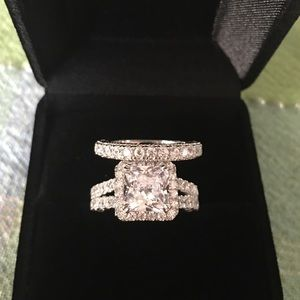 Jewelry - ❤️2pcs 925 Silver Engagement Ring Wedding Band Set